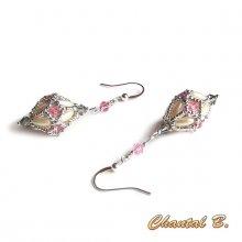boucles d'oreilles mariage perles swarovski rose et gris perles nacrées grain de riz et  argent plaqué argent