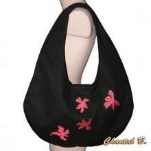 sac à main rouge à porter à l'épaule Tahiti tissu coton noire et fleurs soie rouge