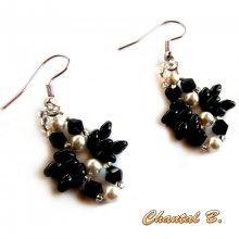 boucles d'oreilles soirée swarovski blanches perles verre noir