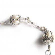 bracelet cristal swarovski perles de verre blanc nacré et argent tissées