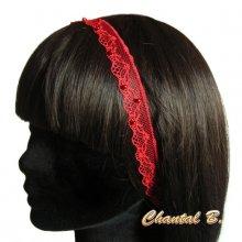 bandeau cheveux fine dentelle rouge perlée accessoire mariage headband