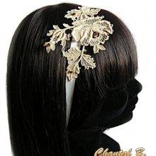 bandeau cheveux mariage ivoire dentelle headband Mélissa rose en guipure ivoire rebrodée de perles or