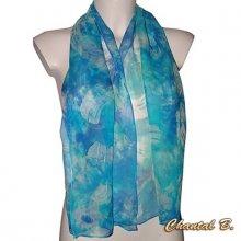 SUR COMMANDE - long foulard écharpe mousseline de soie turquoise peint main bleu Océane accessoire soirée