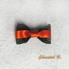 Barrettes cheveux cérémonie dentelle noire et satin orange