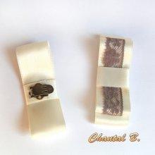 clips chaussures mariage noeud satin ivoire mariée et dentelle taupe