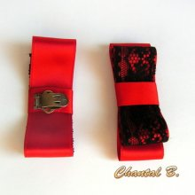 clips chaussures rouge mariage noeud satin rouge et dentelle noire
