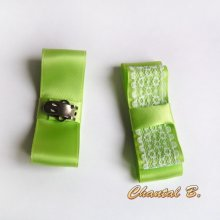 clips chaussures accessoire mariage noeud satin anis et dentelle blanche thème nature