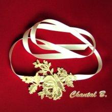 bandeau cheveux dentelle accessoire mariage headband Mélissa rose en guipure ivoire rebrodée de perles or romantique