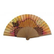 Eventail en soie dessiné et peint à la main 'Drapé verano'