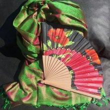 L'écharpe et son éventail en soie 'Coquelicots'