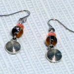 boucles d'oreille noire orange et argent