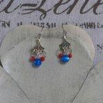 Boucles d'Oreilles Fantaisie Chandelier Bleu Rose et Rouge, Création Unique