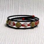 bracelet manchette rouge et beige