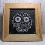 tableau moderne chouette métal sur ardoise cadre bois