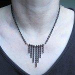 collier chaine noire et perle argent