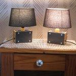 Petite Lampe a Poser en Bois et Ardoise, intemporelle, Lampe de Chevet, Création artisanale