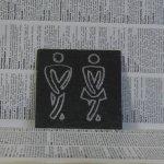 Plaque de Porte en Ardoise Emaillée Argenté, a Poser Sans Trou, Création Artisanale
