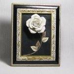 Tableau floral rose en céramique sur ardoise, création fait main