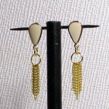 boucles d'oreille puces écrue et or