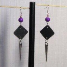 boucle d'oreille violette et argent oreilles percées