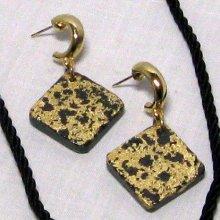 boucles d'oreille attache créole et pendant ardoise et or