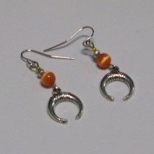 boucles d'oreille pendant argent et orange
