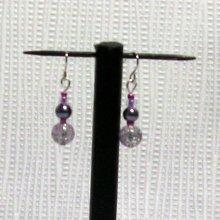 boucles d'oreille pendant bicolore gris et violet