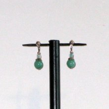 boucles d'oreille vert d'eau sur puce argentée