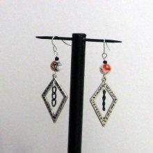 boucles d'oreille losange argent tibétain perle fantaisie orange pour oreilles percées