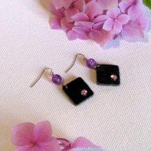 boucles d'oreille ardoise et strass violet, bijou fait main