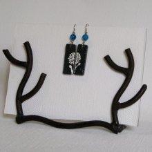 Boucles d'oreille fleur émaillée blanche, création artisanale