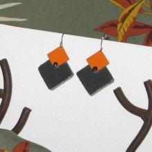 Boucles d'oreille pour Femme en Ardoise Emaillée Orange, Création de Créateur