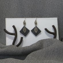 Boucles d'oreille pour Femme en Ardoise et métal Argenté, Création Artisanale