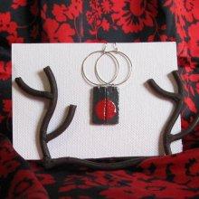 grande boucles d'oreille ardoise émaillée sur gros anneau,personnalisable, création unique