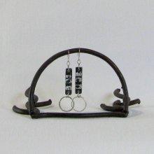 Boucles d'Oreille  Femme en Ardoise et Feuille Argent avec Anneau, Création Unique