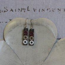 Boucles d'Oreille en Ardoise Rouge, Beige et Blanc, Montage Pendants Acier Inoxydable