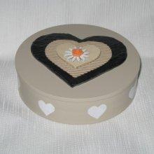 boîte à bijoux en bois décorée de coeurs ardoise, carton, bois