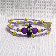 bracelet trois rangs violet jaune et blanc silicone violet