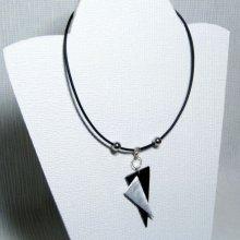 collier moderne triangles inox et ardoise