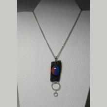 Pendentif pour Femme en Ardoise et cabochon en Céramique bleu marron, Création Unique