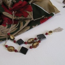 collier long sautoir  rouge et marron