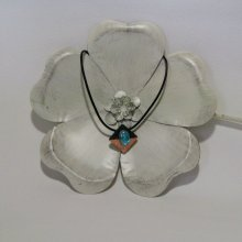 Pendentif ardoise cuivré et turquoise sur cordon cuir, création artisanale