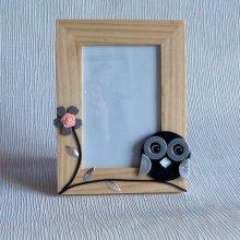 cadre bois naturel motif chouette ardoise pour photo 10/15 cm