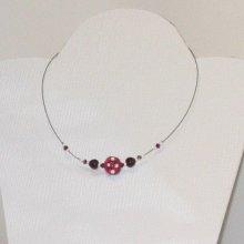 Collier ras du cou perle de verre violet et blanc