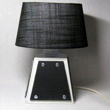 petite lampe ardoise et métal blanc et noir