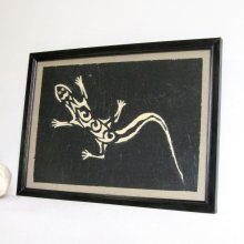 Tableau Animalier Lézard Emaillé couleur ivoire sur Ardoise, Création Unique