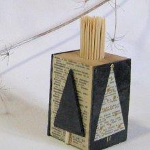 Distributeur de cure dents pour noël en ardoise et bois
