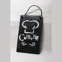 Plaque de porte cuisine en ardoise et émail, fait main