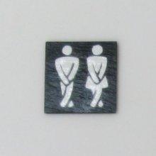 une plaque de porte toilettes wc en ardoise et émail