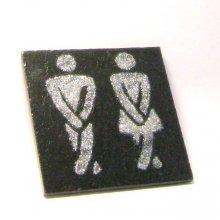 Plaque de porte humoristique en ardoise émaillée pour les toilettes, a poser sans trou